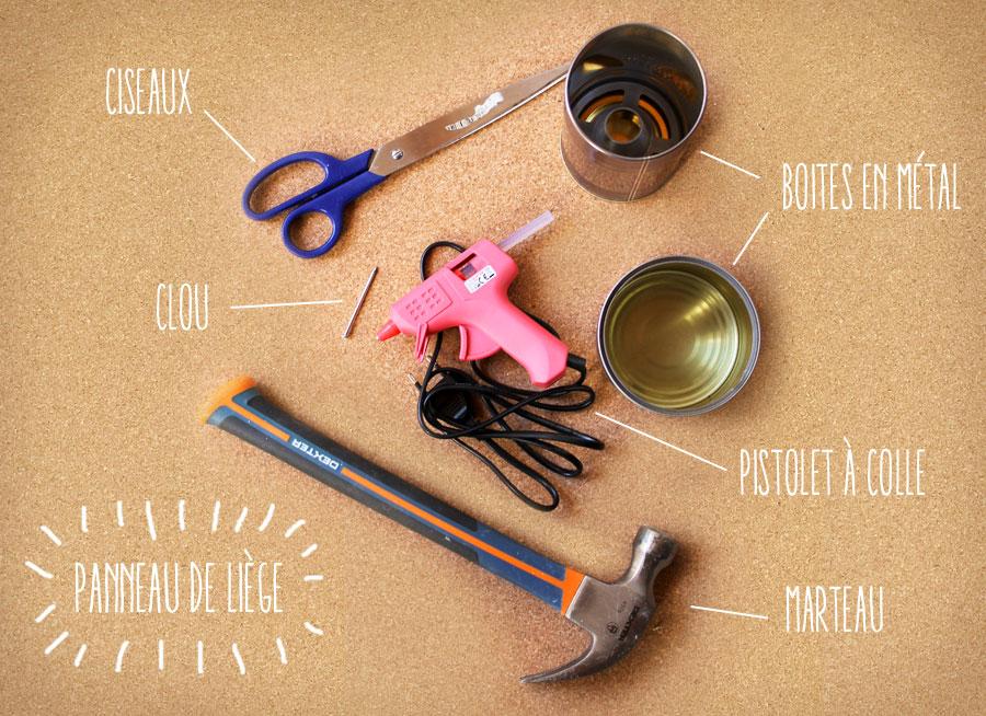 matériel pour faire des pots de fleurs avec du liège