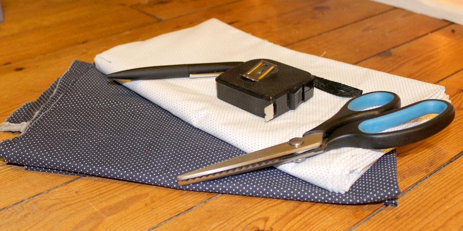 matériel pour fabriquer un coussin bicolore
